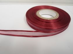 Wine, deep burgundy satin edged organza ribbon, 2 or 25 metres, Double sided, 10mm, 15mm, 25mm, 40mm, 70mm,
